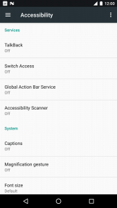 Screenshot of Android Accessibility Services