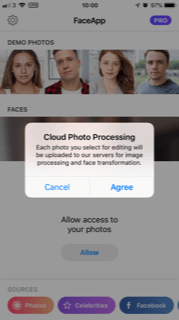 Notification to allow Cloud Photo Processing on Faceapp